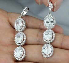 OVAL HALO CZ SILVER CHANDELIER DANGLE EARRINGS STUD WEDDING BRIDAL PROM CZ12307