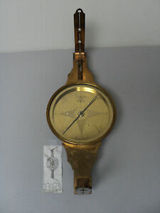 FABULOUS 19th CENTURY ANTIQUE AMERICAN, NEW YORK BRASS SURVEYOR'S COMPASS