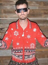M Medium UGLY TACKY Christmas Sweater Party Cardigan Shoulder Pads! Mens Womens