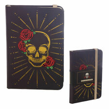 A6 Hardbacked Lined Notebook Note Book SKULL & ROSE Metallic Gold