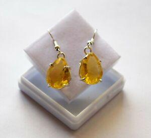 Fashionable Jewelry Set Fancy Yellow Sapphire Silver Finish Earrings Best Gift