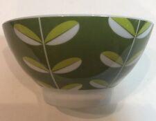 Danica Breakfast Set 4 Pc. Porcelain Soup Cereal Bowl Green Leaf Design Dish Set