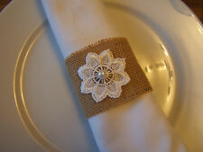 Rustic Hessian and Lace Napkin Rings Serviette Holders  Wedding Table Set of 10