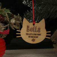 Personalised Cat Pet Memorial Christmas Tree Decoration, Xmas Ornament, Bauble