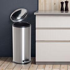 HOMCOM Foot Pedal Bin Stainless Steel Metal Waste Rubbish Lid Kitchen Garbage