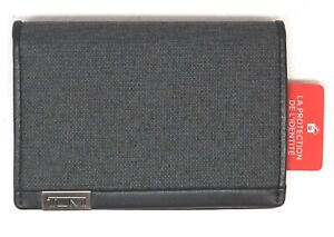 Tumi Brand Wallet RFID Blocking Multi Window Card Case Gray Black Canvas NEW $65
