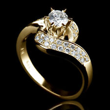 Round Stone For Women 925 Ss Brilliant Curved Engagement Ring With 2.80Ct White