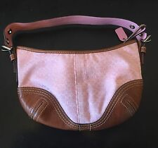 Genuine Coach Purse/ Bag - PINK w/ Brown Leather-  No. K0618-F02154