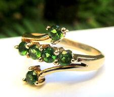 Tsavorite Ring 14K Yellow Gold Green Garnet Bypass Band Size 7 Vintage Handmade