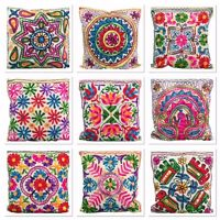 Indian Suzani Ethnic Vintage Cushion Cover Covers Embroidery Mirror White  16x16