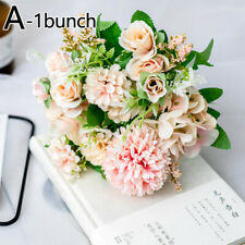 A Bunch Artificial Silk Peony Fake Rose Flowers Bouquet Home Wedding Party Decor