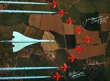 CONCORDE & RED ARROWS IN FORMATION FLYING OVER THE BRITISH ISLES SIGNED 16X12