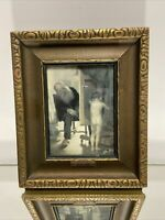 "VTG. Victorian Art Deco Gold Wood Picture Frame Fits 3 7/8""x5 1/8"""