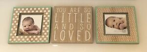 Grasslands Road BABY FRAME PLAQUE 3 PIECE SET WOOD green cream You are so loved