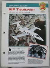 Aircraft of the World Card 11 , Group 8 - Learjet Inc. Learjet VIP Transport