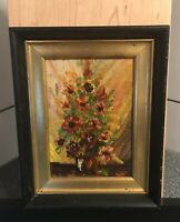 "Vintage Small Oil On Board Floral Painting Original 5""x7"" Inside Old Rusty Frame"