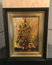 Vintage Small Oil On Board Floral Painting Original 5�x7� Inside Old Rusty Frame