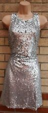 ASOS SILVER SEQUIN BEADED SEQUINS SMOCK BAGGY SLIP A LINE PARTY XMAS DRESS 10 S