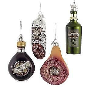 Set of 4 Noble Gems™ Italian Food Glass Ornaments w