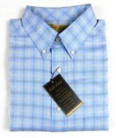 NWT Gold Label Roundtree York LS Blue Cream Check Men Shirt Big Tall LT 2XT 3XT