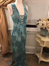 lisa blue call of the whale silk sapphire leopard beach maxi dress M NWT $249