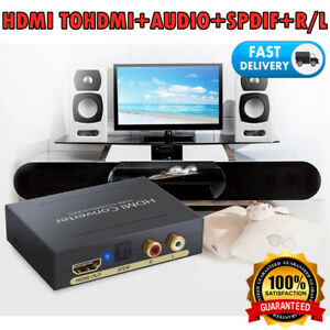 1080P HDMI Zu HDMI Optisch SPDIF+RCA R/L Audio Extractor Konverter Splitter   DE