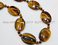 AAA+ Natural 13X18mm & 6mm Yellow Tigers Eye Gemstone Oval Beads Necklace 18''