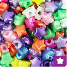 250 Mixed Colors Pearl 13mm Star Pony Beads Plastic Made in the USA