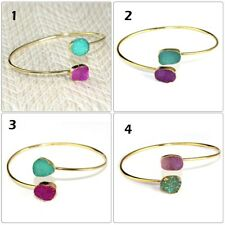 Plated Adjutable Bangle Bracelet Jewelry Gorgeous Natural Agate Sugar Druzy Gold