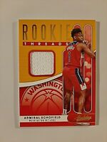 2019-20 Absolute Rookie Threads Admiral Schofield Rc Jersey Wizards Future