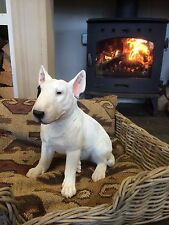 Real to Life Sitting English Bull terrier Bulls eye white bull terrier vivid