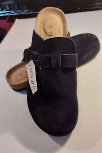 TF STAR Unisex Boston Soft Footbed Clog Cow Suede Leather, Black, Size 10.0 M