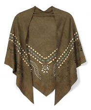 Cowgirl Western OLIVE Tribal Print Embroidered O/S Shawl Poncho S M L XL