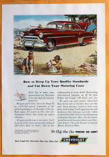 Magazine  Print Ad 1952 Chevrolet De Luxe 2-Door Regal Maroon Sedan - Beach