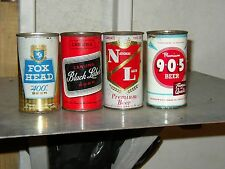 4 Never opened Empy flat top beer cans Foxhead 400, Black Label,National, 9-0-5