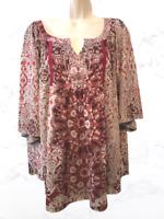 Apt. 9 Women's Blouse Plus 1X Short Sleeve V-Neck Pullover Top
