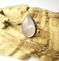 Rose Quartz Gemstone 925 Sterling Silver Plated Ethnic Ring Size 9.0/Rg15