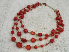Vintage Goldtone Genuine Red Coral Bead Three Chain Necklace (D12)