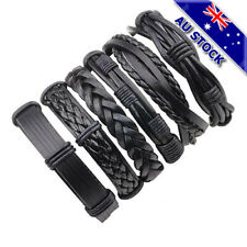 Vintage 6Pcs Men Black Weave Leather Bracelet Wrap Wristband Bangle Set Gift