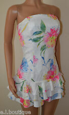 VICKY MARTIN pink blue white floral strapless rara mini dress 10 BNWT RRP £150