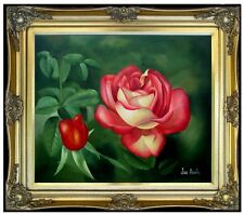 Framed, Red Rose with Bud Quality Hand Painted Oil Painting 20x24in
