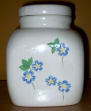 Square Painted Flowers Cookie Jar By Bigelow Tea Company Free USA Shipping!!