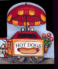 Brandywine Collectible Downtown Houses & Shops HOT DOG STAND Wooden Shelf Sitter