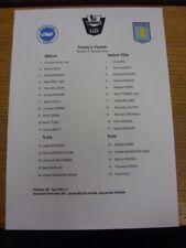 05/01/2015 Brighton And Hove Albion U21 v Aston Villa U21  (single sheet). Thank