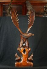 Large Hand Carved Wood American Eagle Feeding Chicks