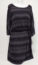 women dresses Halo Medium Dolman Sheer Sleeves Black and Grey waist tie included