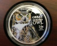 2013 Birds of Prey Great Horned Owl 1oz Silver Coin NEW ZEALAND MINT