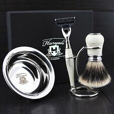 4 Pcs Ready to Use Men's Shaving Set With 3 Edge Razor & Sliver Tip Brush