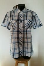 Lee Cooper blue check short sleeve popper snap size small  BNWT