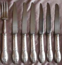"""BOULENGER 6 couteaux & 1 fourchette service métal argenté art nouveau  """" Cacao """""""